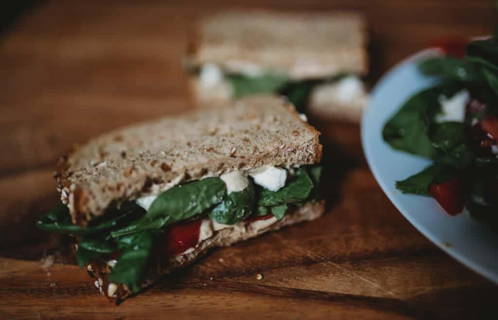 dave killer's bread sandwich hummus meditereaan
