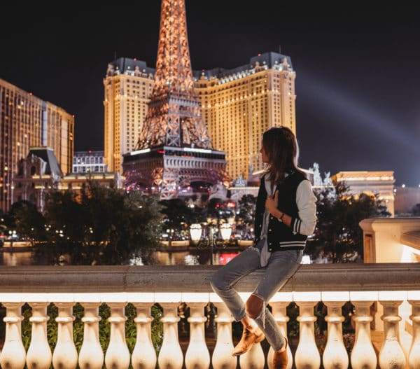 giada cromwell vegas restaurant travel blogger eileen lamb theautismcafe autism cafe mom  las vegas strip eiffel tower by night